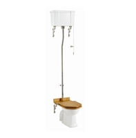 Burlington High Level Toilet with Dual Flush Ceramic Cistern and Chrome Flush Pipe Kit