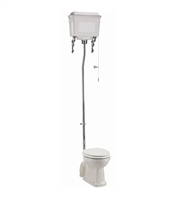 Burlington High Level Toilet with White Aluminium Cistern & Chrome Flush Pipe Kit