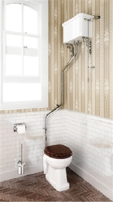 Burlington High Level Pan with High Level Cistern and High Level Angled Flush Pipe Kit