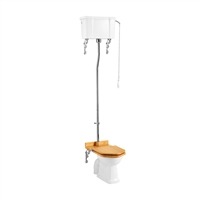 Burlington High Level Pan with Single Flush High Level Cistern and High Level Flush Pipe Kit