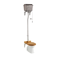 Burlington High Level Toilet with Chrome Aluminium Cistern & Chrome Flush Pipe Kit