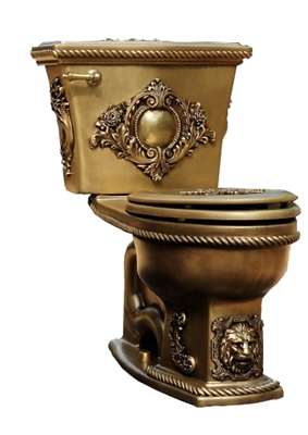 TRTC Lyonnaise Close Coupled Toilet Gold Finish