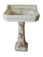 TRTC Victorian Multicoloured Floral Basin and Pedestal