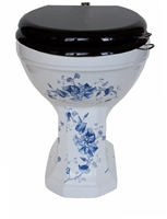 TRTC Floral Blue & White Patterned Victorian Toilet Pan