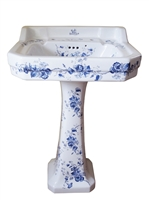 TRTC Victorian Blue and White Floral Basin and Pedestal