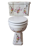 TRTC Victorian Floral Multicoloured Close Coupled Toilet