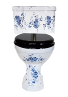 TRTC Victorian Floral Blue & White Close Coupled Toilet