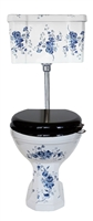 TRTC Blue & White Floral Low Level Toilet with Floral Cistern