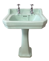 TRTC Art Deco Green 56cm Basin and Pedestal