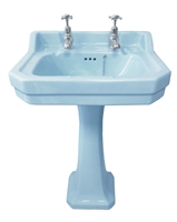 TRTC Art Deco Blue 56cm Basin and Pedestal