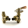 Abbey Old English Brass Manual Throttle Radiator Valves