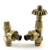 West Abbey Thermostatic Radiator Valve & Lock Shield - Old English Brass (Angled TRV)