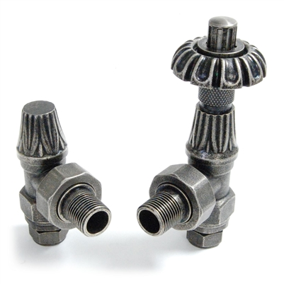 Abbey Thermostatic Radiator Valves - Pewter (Angled TRV)