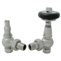 Amberley Thermostatic Radiator Valves - Satin Nickel (Angled TRV)