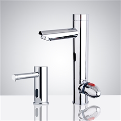 All-in-one Thermostatic Automatic Commercial Sensor Faucet with Soap Dispenser