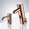 Fontana Rose Gold Contemporary Automatic Commercial Sensor Faucet and Matching Soap Dispenser