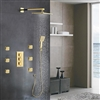Napoli LED Rainfall Thermostatic Shower Set in Gold Finish
