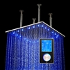 "20"" Stainless Steel Multi Color Water Powered Led Shower with Digital Control"