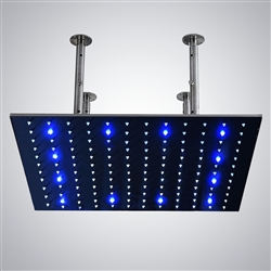 Nickel Color Changing Water Powered Led Ceiling Mount Shower Head