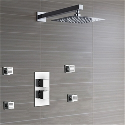 Leo Thermostatic Shower Ultra Thin Head with Chrome Bathroom Massage Body Jets