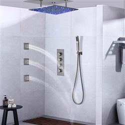Ceiling LED Shower Set Thermostatic Valve Brushed Nickel Wall Mount with Jets Spray & Handshower