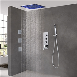 BathSelect Brushed Nickel Ceiling Mount LED Rainfall Shower Set With Thermostat Mixer Jet Spray and Handshower