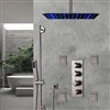 BathSelect Brushed Nickel Ceiling Mount LED Rainfall Shower Set With Thermostat Mixer Jet Spray and Slidebar Handshower