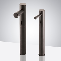 Fontana Oil Rubbed Bronze Tall Commercial Automatic Motion Sensor Faucet and Matching Soap Dispenser