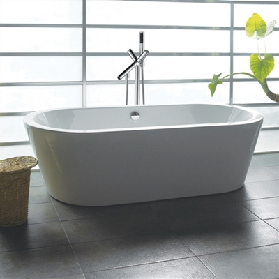 "Princeton 71"" Luxury White Acrylic Bathtub Overflow & Chrome Tub Filler with Floor Mounted Faucet"