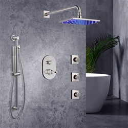 square wall shower with jet spray and handshower slide bar and valve