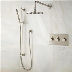 brushed nickel shower head body jet handshower set