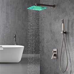 rain shower set single handle thermostatic valve brushed nickel wall mount shower with handshower