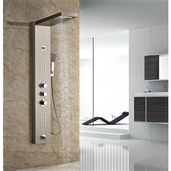 Bath Rainfall&Waterfall Shower Panel Wall Mount Brushed Nickle Thermostatic Shower Set