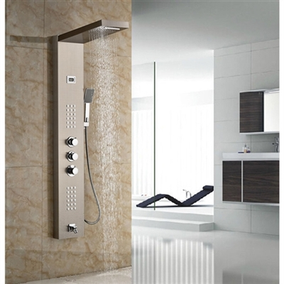 Bath Rainfall&Waterfall Shower Panel Wall Mounted Brushed Nickle Thermostatic Shower Set