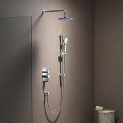 brushed nickel wall mounted round shower with handshower and dual controller