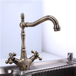 Monro Dual Handle Antique Brass Faucet