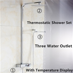Fontana Digital Thermostatic Shower Set With Digital Display Touch Button Mixing Valve