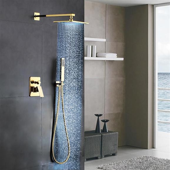 gnial gold brass rainfall shower set with waterfall tub spout u0026 handshower