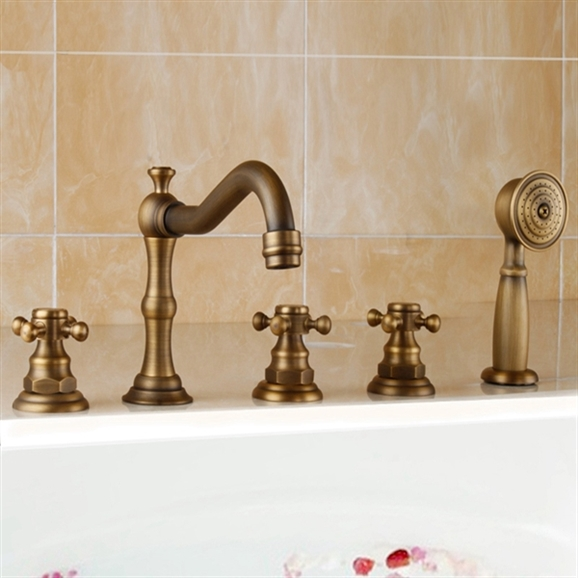 Buy Bona Antique Look Deck Mounted Triple Handle Bathtub Faucet Mixer Tap  With Handheld Shower Online