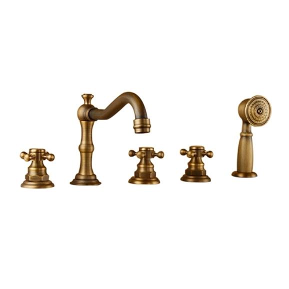 Bona Antique Look Deck Mounted Triple Handle Bathtub Faucet Mixer Tap With  Handheld Shower