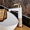High Beautifull Grilled White Paint Hot and Cold Basin Faucets Deck Mounted White & Golden Bathroom Mixer Taps with ceramic