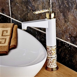 High Beautiful Grilled White Paint Hot and Cold Sink Faucets Deck Mount White & Golden Bathroom Mixer Taps with ceramic
