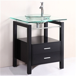 Prima 28 inch Tempered Clear Glass Bowl vessel Sink & wood Vanity with Matching Faucet