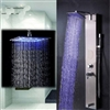 Brio LED Shower Panel Nickel Brushed Finish Nickel Brushed led Rain Shower Column Faucet Shower Panel & Body Sprayer Jets 12-inch Shower Head Shower Panel