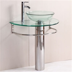 Prima Pedestal Vessel Glass Sink with Matching Bath Faucet