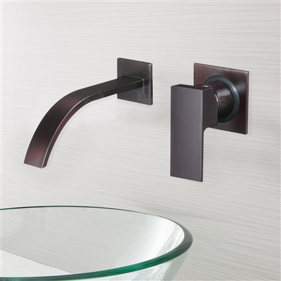 Brio Wall Mount Oil Rubbed Bronze Bath Glass Vessel Sink Faucet