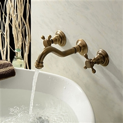 Venice Classic Antique Brass Widespread Wall Mount Faucet