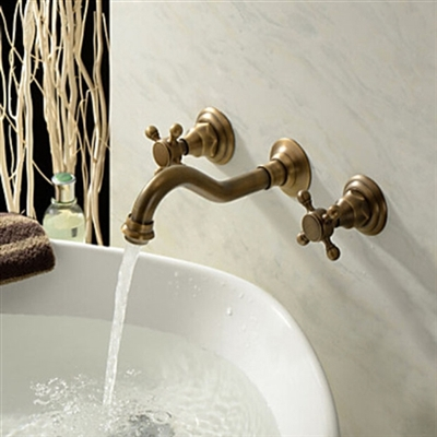 BathSelect Venice Classico Antique Brass Wall Mount Faucet