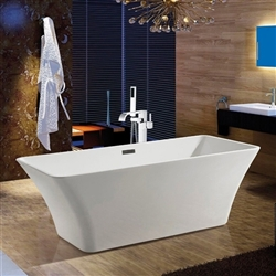 "BathSelect Showers 67"" Free Standing Acrylic Bathtub & Floor Tub Filler"