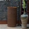 Greenville Freestanding Pedestal Cylinder Ceramic Wash Bathroom Sink with Faucet in Brown Engraved Finish